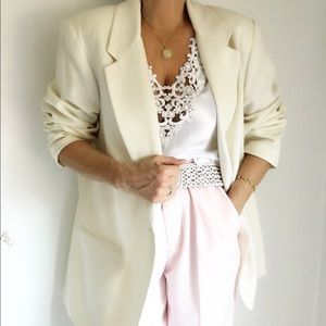 Vintage Oversized Off White Wool Blend Blazer